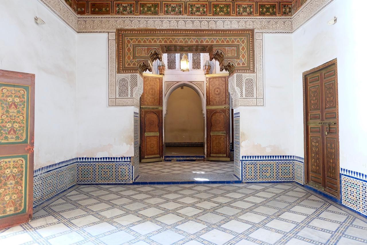 piece du palais de bahia marbre week-end à marrakech